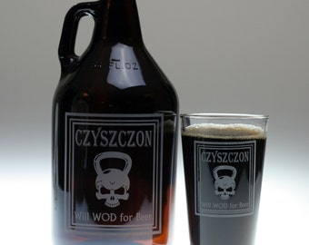 Personalized Will WOD for beer growler & glass set , home brew gift , beer gift , personalized gift , dad gift , christmas , friend gift