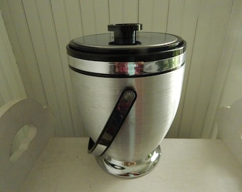Spun Aluminum Kromex Ice Bucket - Mid Century Modern Vintage Barware Ice Bucket - Kromex Spun Aluminum - Large Vintage Ice Bucket w/Handle