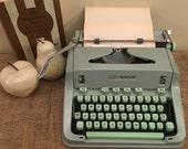 Hermes 3000 Manual Typewriter Vintage Typewriter, Retro Typewriter, Switzerland, Portable Typewriter, Typewritten Poetry Sea Foam Green 1967