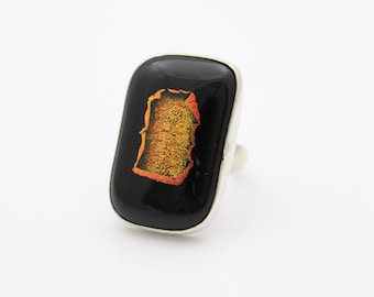 Shadowbox Dicroic Glass Ring Black and Gold -  Sterling Silver Size 6.6. [7489]