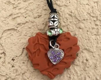 Heart Charm Terra Cotta Pendant Necklace (Includes Essential Oil of Your Choice)