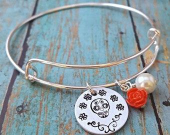 Sugar Skull Bracelet - Sugar Skull Jewelry - Sugar Skull - Dia de los Muertos - Gift for Her - Skull - Skull Bracelet - Flowers