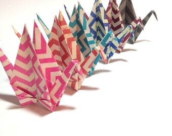 Origami Cranes, Bold Chevron Pattern, Mobiles for Adults, Origami for Teens, Bird Mobile, Bold Colors, Zigzag Design, Birthday Gift