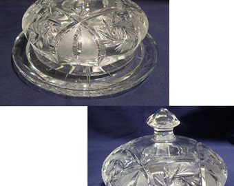 Vintage Cut Glass Butter Dish with Dome Cover by Libbey Glass Company