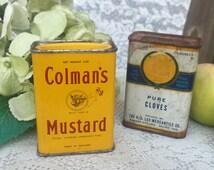 2 Vintage Spice tins, Colman's Mustard, Lee Pure Cloves, Advertising, Collectable, Decorative, kitchen storage decor, primitive rustic