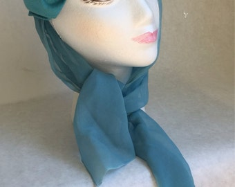 Pillbox Hat with Scarf