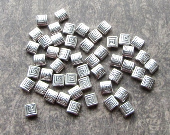 50 Antique Silver Spiral Geometric Square Spacer Metal Beads 6mm