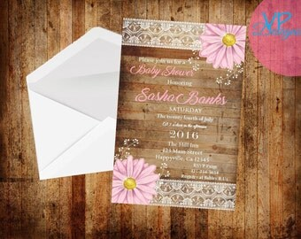 Pink lace daisy baby shower/birthday/save the date/bridal shower set of 25 PRINTED INVITATIONS with envelopes
