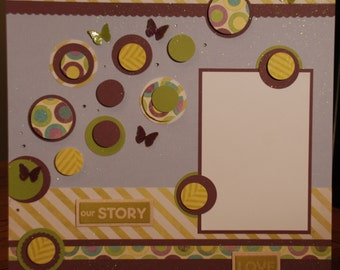 """12x12 premade """"our story"""" scrapbook page"""