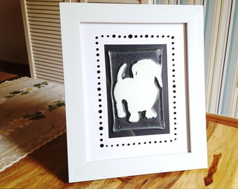 REDUCED Fused glass framed display panel wall art - dachshund. Childrens bedroom design. Dog lover gifts. Black and white artwork.