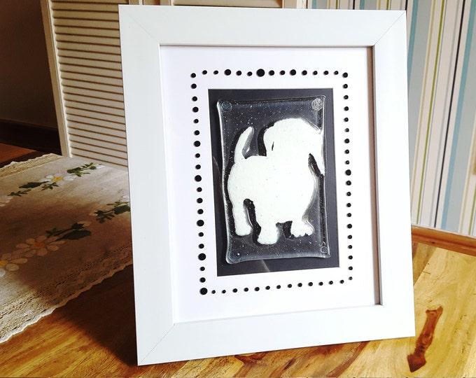 Fused glass framed display panel wall art - dachshund. Childrens bedroom design. Dog lover gifts. Black and white artwork. Monotone art.