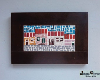 Mosaic Wall Art, Ceramic Mosaic, Wallhanging, Handmade, Home Decor. Traditional Houses and Cobbled Streets, Little Town (about 12x8 inches)