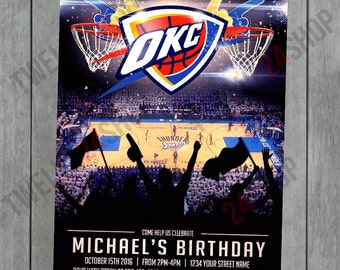 Oklahoma City Thunder Birthday Invitation - OKC Thunder Birthday Invitation