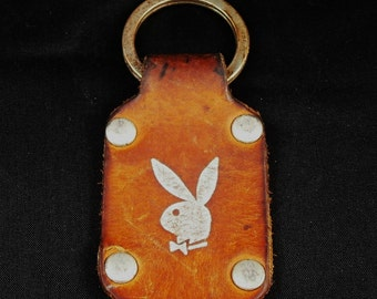 Vintage 1960-70 Playboy leather keychain Ring FOB