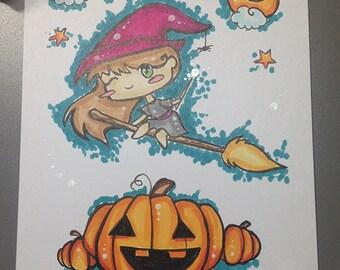 Little witch A6 original illustration