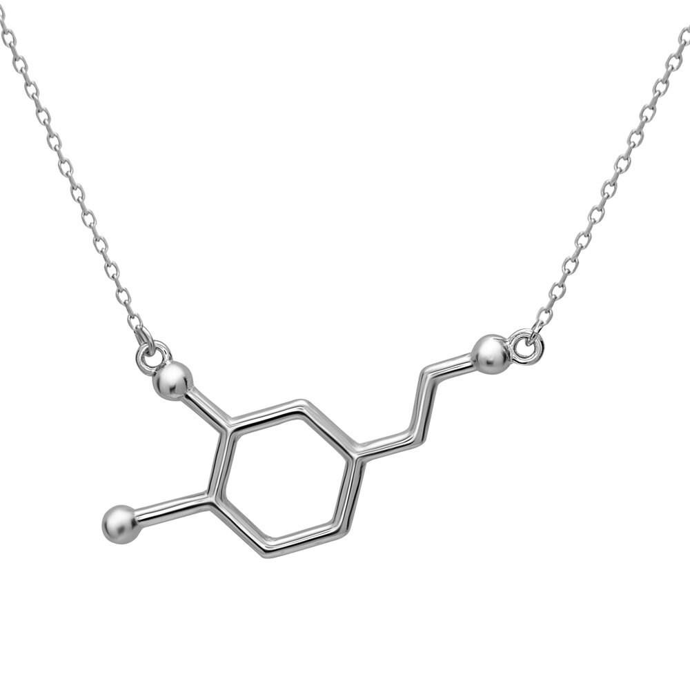 Dopamine Molecule Necklace: Dopamine Molecule Necklace In Silver Tone Alloy By Silver