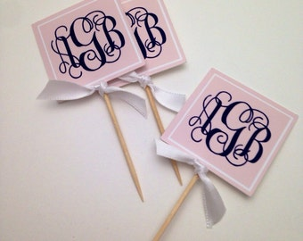 Custom Square Monogram Cupcake Toppers