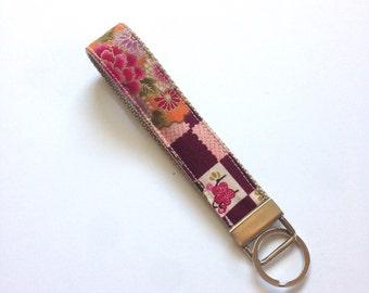Wristlet Key Fob, flower, Fabric Key Chain, Japanese kimono pattern Fabric key fob,wristlet
