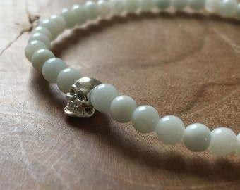 Gratitude Skull: elastic beaded bracelet with silver tone skull and amazonite - gemstone, pale green, pastel, silvertone