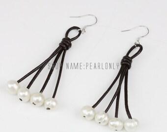 Leather pearl earrings,Pearl leather earrings,leather earings,8mm white freshwater pearl earrings,dangle earring,pearl leather jewelry
