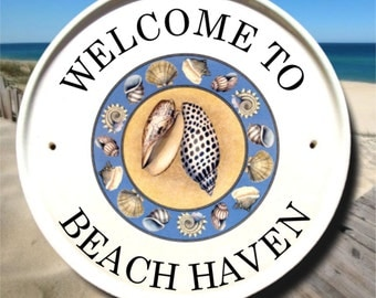 Seashells Address Sign/ Beach Welcome Sign/ Beach Address Plaque/ Personalized Beach House Sign/ Outdoor House Numbers/ Home Address Plaques