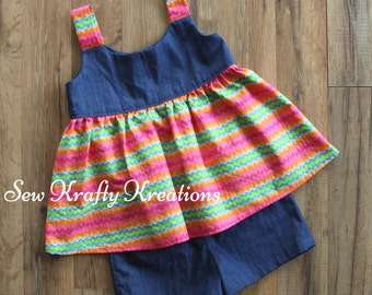 Girl's 2 Piece Set - Denim with Rainbow Striped and Cotton Denim Shorts