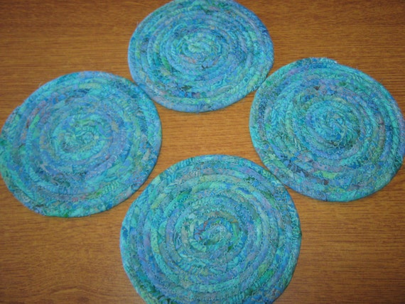 SET OF 4 coiled fabric POTTERY coasters in