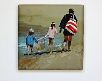 Tiny Canvas | Child's Play | Beach Art | Canvas Print | Wall Art | Children Playing | Small Art Print | Present | Collectible Art | Art Gift