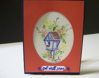 Get Well Soon card  -  Watercolored Birdhouse