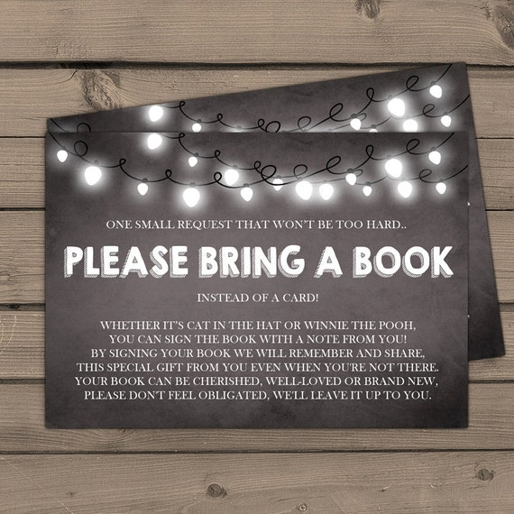 baby shower bring a book string lights rustic baby shower chalkboard