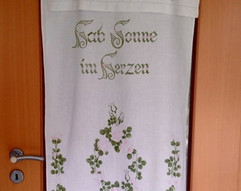 Vintage German Kitchen Fold Over Towel, Tea Towel, Bathroom Towel with pink roses, hand towel, curtain, window valance