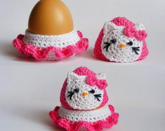 Crochet Hello Kitty egg cozy, egg holder, egg cup pdf pattern
