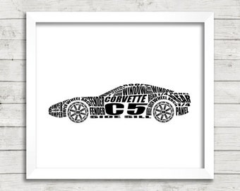 "C5 Chevrolet Corvette Art, C5 Corvette, Garage Art, Corvette art, Instant Download Download, C5 Corvette Decor, 8 x 10"", 14 x 11"", 16 x 20"""
