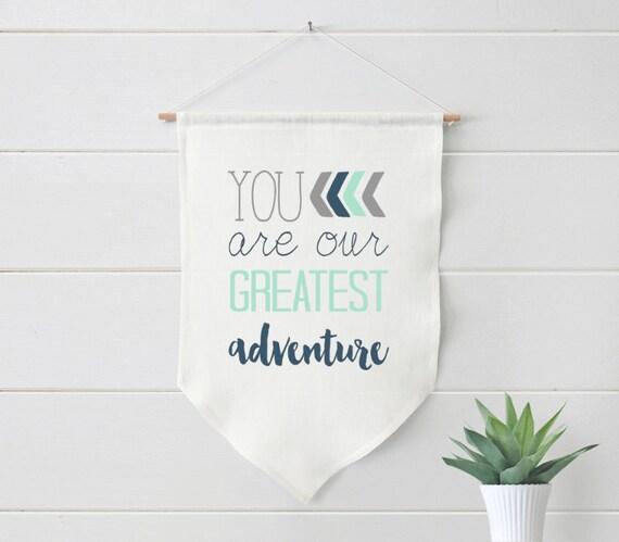 Nursery Art, You are our greatest adventure, mint, navy , Framed, Canvas, linen, Art Print #360-2
