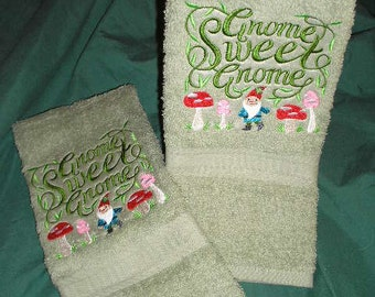 PAIR hand towels - Gnome sweet Gnome - EMBROIDERED 15 x 25 inch for kitchen or bath