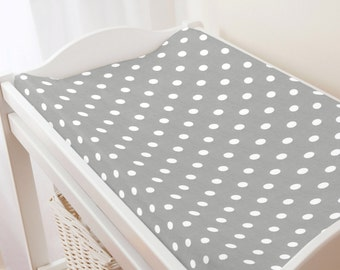 Carousel Designs Gray and White Polka Dot Changing Pad Cover
