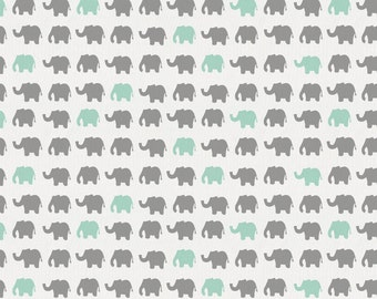 Gray and Mint Elephant Parade Organic Fabric - By The Yard - Boy / Girl / Gender Neutral