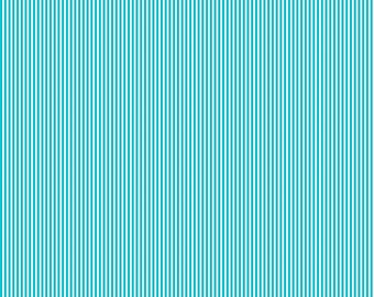 Teal Mini Stripe Organic Fabric - By The Yard -  Boy / Girl / Neutral