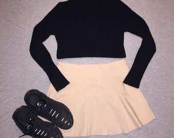 2000s beige pleated school skirt / 10