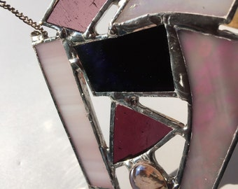 Pink and purple abstract suncatcher