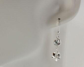 Silver Plumeria Earrings, Plumeria and Zirconia Earrings, Silver Frangipani Earrings, Hawaiian Wedding Earrings, Beach Wedding Earrings