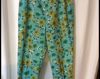 1960's Floral High Waisted Crop Pants Large