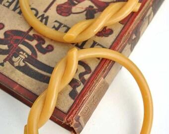 Vintage Midcentury Butterscotch Early Plastic Purse Handles