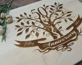 50th Anniversary Gift;  Personalized Engraved Cutting Board in Maple, Walnut or Cherry