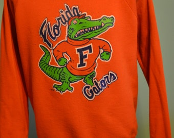 80s University of Florida Gators Raglan Sweatshirt Gainesville Orange and Blue Jerzees XL Pullover