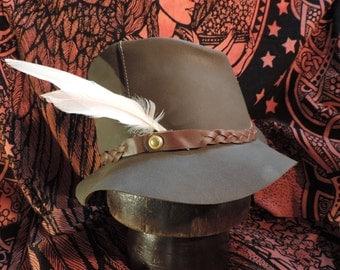 Handmade leather hat Retro 1970s pattern
