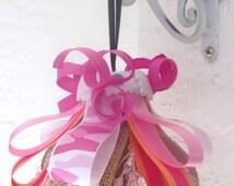 Pink Camo Decor, Pink Camo Ornament, Pink Decorative Tassel, Pink Camo Ribbon Tassel