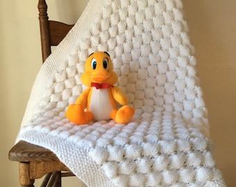 White Hand Knit Baby Blanket - Knit Newborn Blanket - Girl Blanket - Boy Blanket