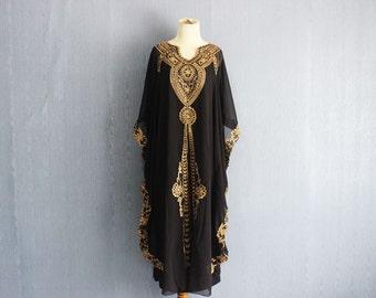 Oversize Black Kaftan Dress,  Plus Size Maxi Caftan Dress Summer Chiffon Kaftans, Moroccan Black Caftan Dress, Gold Embroidery Kaftan Dress