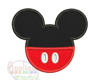 Mickey Silhouette <5 sizes included: 2x2 4x4 5x7 6x10 and 7x12 Applique Design Embroidery Machine -Instant Download File